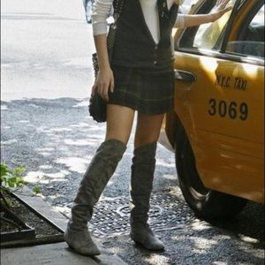 Chinese Laundry TURBO Suede Grey Over Knee Boots